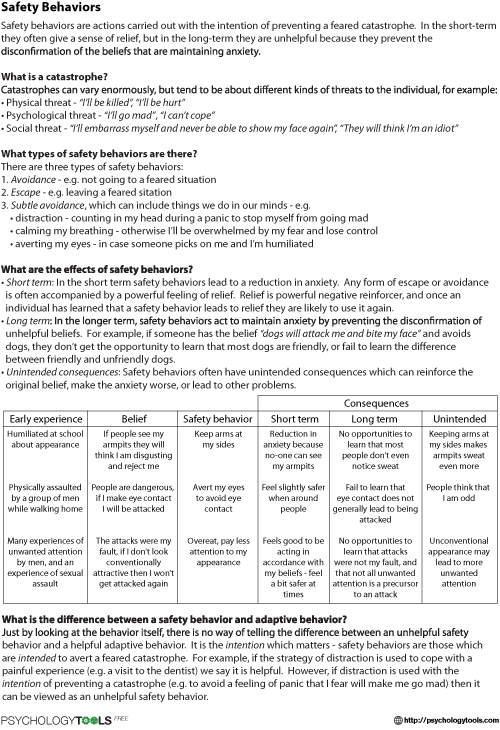 {Safety Behaviors CBT Worksheet – Seeking Safety Worksheets